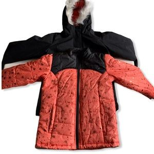 3 in 1 Faux Fur Double Puffer Jacket Coral Hearts